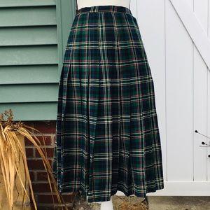Vintage Brooks Brothers Pleated Tartan Plaid Skirt